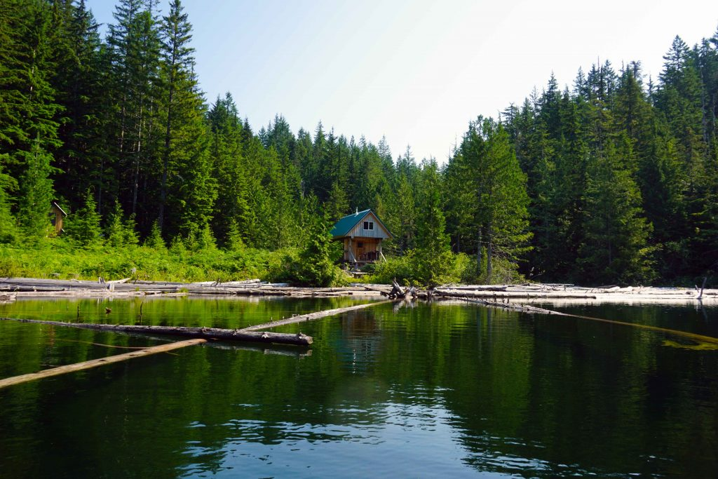 View of Confederation Lake hut from the lake