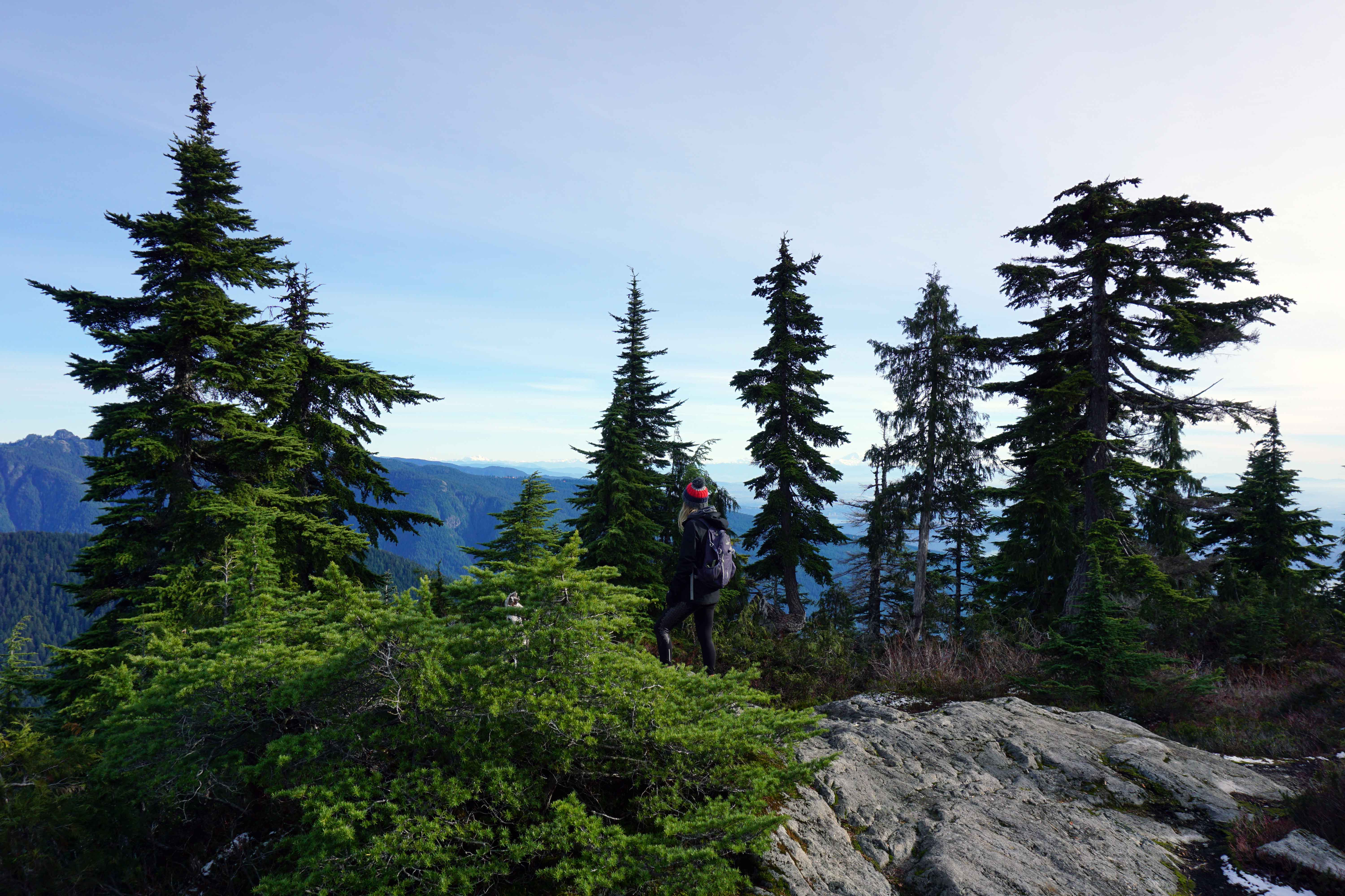 Woman stands on top of Mount Fromme