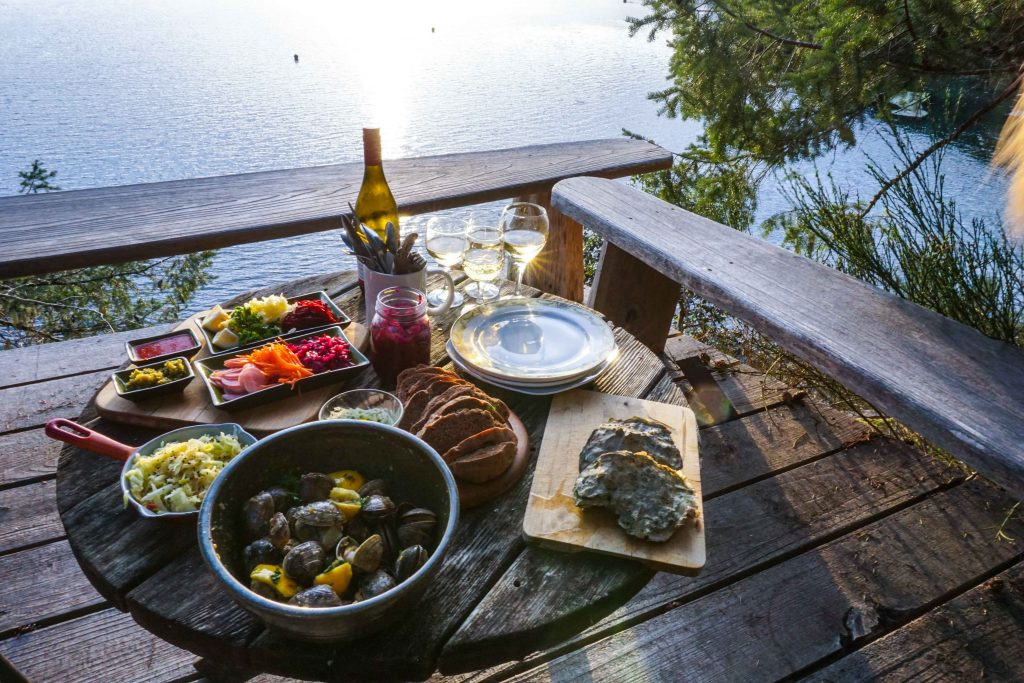 Dinner spread on an outdoor table