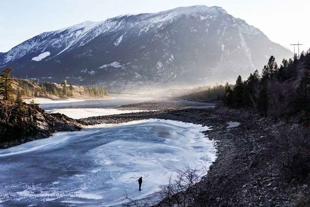 Frozen river and mountain
