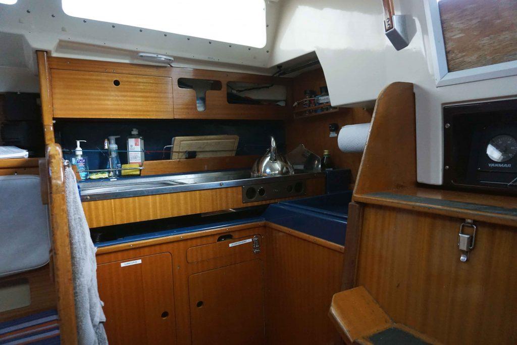 Kitchen aboard sailboat