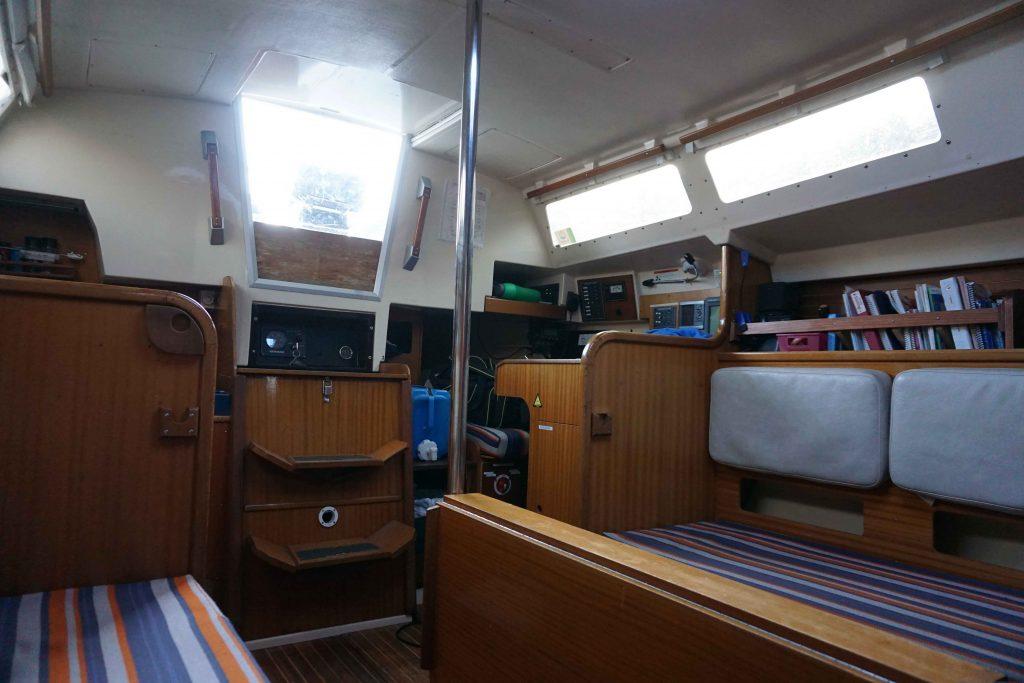 Living quarters inside a sailboat