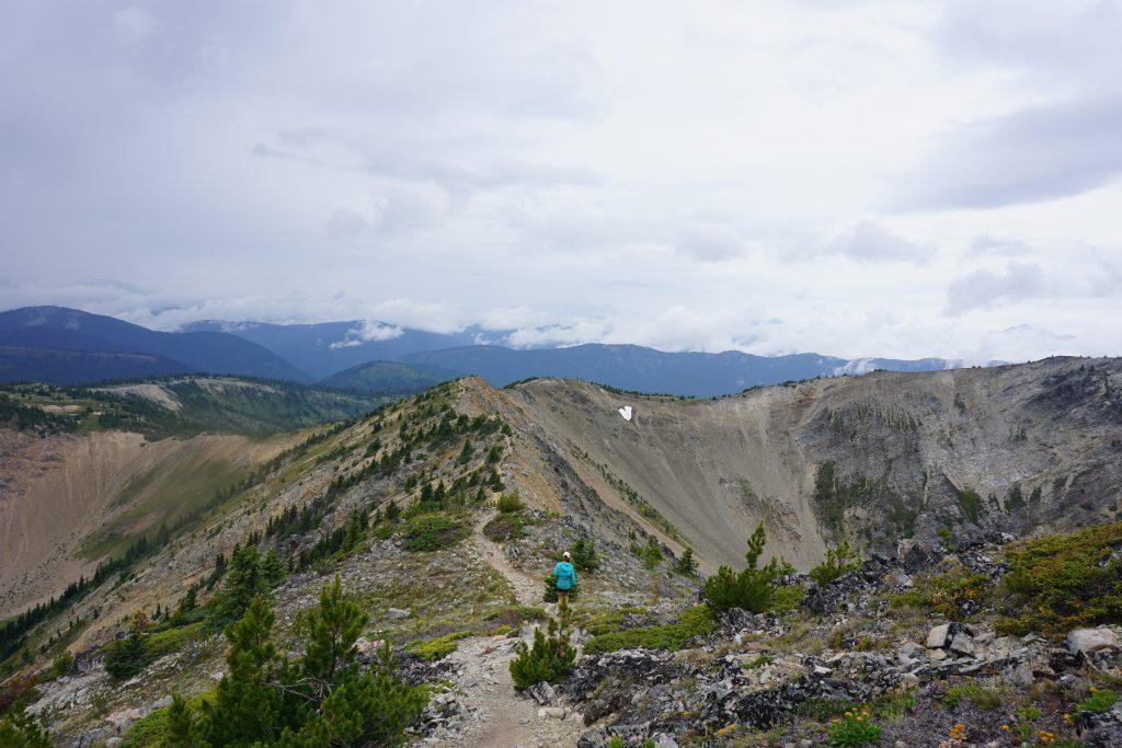 Woman runs along mountain ridge