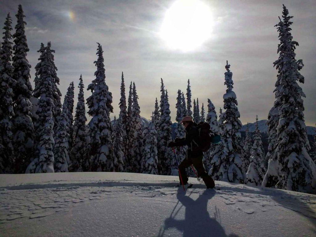 Woman walks on skis along snowy ridge