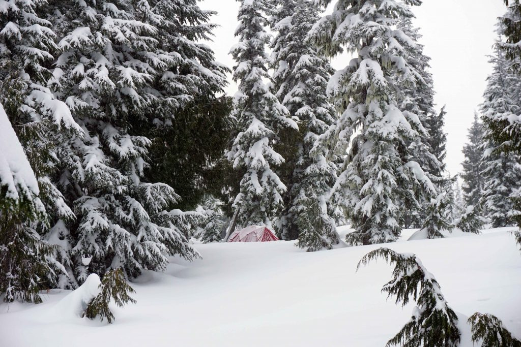 Winter camping at Red Heather campground