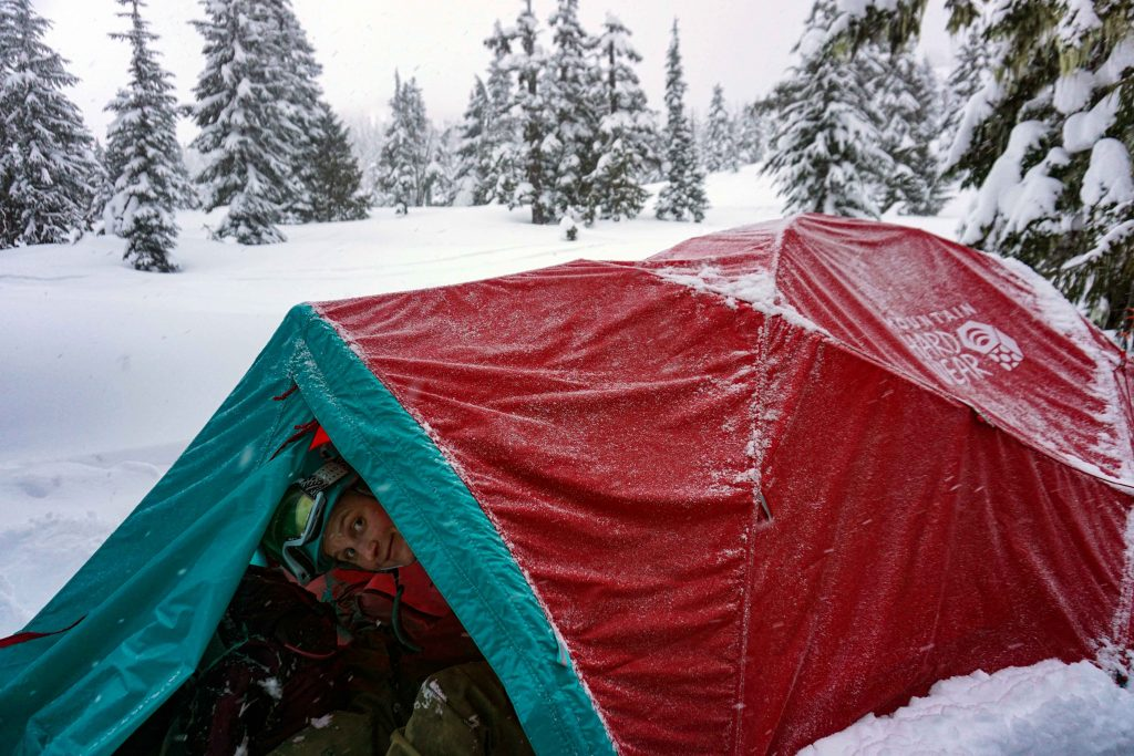 Winter camping at red heather campground in Garibaldi Provincial Park
