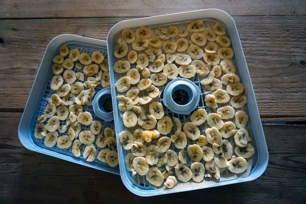 Chopped up banana in two dehydrator trays stacked on a wooden table